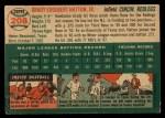 1954 Topps #208  Grady Hatton  Back Thumbnail