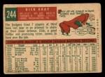 1959 Topps #244  Dick Gray  Back Thumbnail