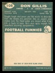 1960 Topps #108  Don Gillis  Back Thumbnail