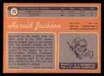 1970 Topps #72  Harold Jackson  Back Thumbnail