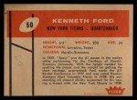 1960 Fleer #50  Kenneth Ford  Back Thumbnail