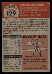 1953 Topps #129  Keith Thomas  Back Thumbnail