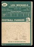 1960 Topps #69  Lou Michaels  Back Thumbnail