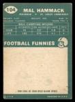 1960 Topps #104  Mal Hammack  Back Thumbnail