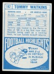 1968 Topps #182  Tom Watkins  Back Thumbnail