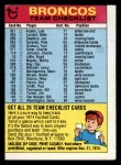 1974 Topps Football Team Checklists #8   Broncos Team Checklist Front Thumbnail