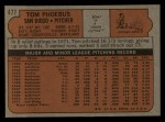 1972 Topps #477  Tom Phoebus  Back Thumbnail