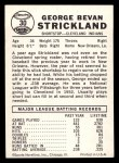 1960 Leaf #30  George Strickland  Back Thumbnail