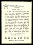 1961 Golden Press #10  Charlie Gehringer  Back Thumbnail