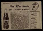 1958 Hires Root Beer #23 xTAB Pee Wee Reese  Back Thumbnail