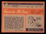 1970 Topps #134  Bennie McRae  Back Thumbnail
