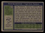 1972 Topps #33  Rich McGeorge  Back Thumbnail