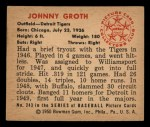 1950 Bowman #243 CPR Johnny Groth  Back Thumbnail