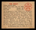 1950 Bowman #210 CPR Ted Gray  Back Thumbnail