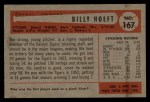 1954 Bowman #167  Billy Hoeft  Back Thumbnail