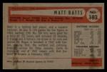 1954 Bowman #183  Matt Batts  Back Thumbnail