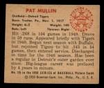 1950 Bowman #135  Pat Mullin  Back Thumbnail