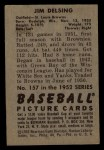1952 Bowman #157  Jim Delsing  Back Thumbnail