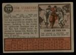 1962 Topps #179 GRN Tom Sturdivant  Back Thumbnail