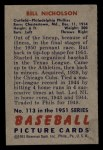 1951 Bowman #113  Swish Nicholson  Back Thumbnail
