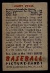 1951 Bowman #226  Jimmy Dykes  Back Thumbnail