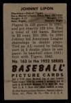 1952 Bowman #163  John Lipon  Back Thumbnail