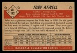 1953 Bowman #112  Toby Atwell  Back Thumbnail