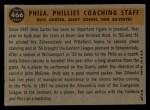 1960 Topps #466   -  Ken Silvestri / Dick Carter / Andy Cohen Phillies Coaches Back Thumbnail