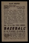 1952 Bowman #13  Cliff Mapes  Back Thumbnail