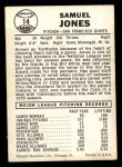 1960 Leaf #14  Sam Jones  Back Thumbnail