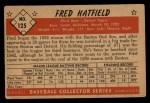 1953 Bowman #125  Fred Hatfield  Back Thumbnail