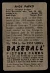 1952 Bowman #204  Andy Pafko  Back Thumbnail