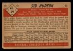 1953 Bowman Black and White #29  Sid Hudson  Back Thumbnail