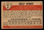 1953 Bowman #85  Solly Hemus  Back Thumbnail