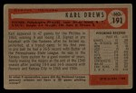 1954 Bowman #191  Karl Drews  Back Thumbnail