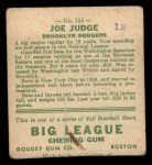 1933 Goudey #155  Joe Judge  Back Thumbnail
