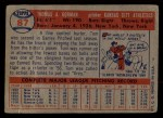 1957 Topps #87  Tom Gorman  Back Thumbnail