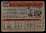 1957 Topps #239  Tom Morgan  Back Thumbnail