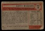1954 Bowman #9  Davey Williams  Back Thumbnail