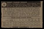1952 Topps #60  Sid Hudson  Back Thumbnail