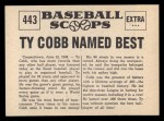 1961 Nu-Card Scoops #443   -   Ty Cobb  Ty Cobb named best player of All-Time Back Thumbnail