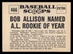 1961 Nu-Card Scoops #466   -  Bob Allison Bob Allison Named AL Rookie of Year Back Thumbnail