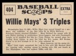 1961 Nu-Card Scoops #404   -   Willie Mays Three triples Back Thumbnail