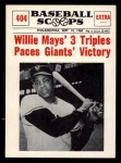 1961 Nu-Card Scoops #404   -   Willie Mays Mays 3 Triples Paces Giants Front Thumbnail