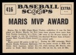 1961 Nu-Card Scoops #416   Roger Maris   Back Thumbnail