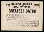 1961 Nu-Card Scoops #427   -   Willie Mays Greatest catch Back Thumbnail