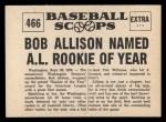 1961 Nu-Card Scoops #466  Bob Allison  Back Thumbnail