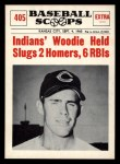 1961 Nu-Card Scoops #405   -  Woodie Held Woodie Held Slugs 2 Homers, 6 RBI's Front Thumbnail