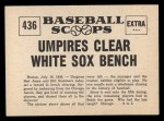 1961 Nu-Card Scoops #436   Umpires Clear White Sox Bench Back Thumbnail
