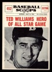 1961 Nu-Card Scoops #452   -   Ted Williams All-Star Hero Front Thumbnail
